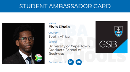 Elvis Phala, MBA alumn University of Cape Town Graduate School of Business