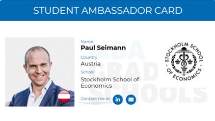 Paul Seimann, SSE Stockholm MBA Ambassador card