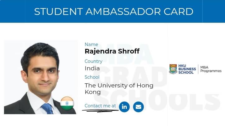 Raj Shroff, MBA student The University of Hong Kong HKU